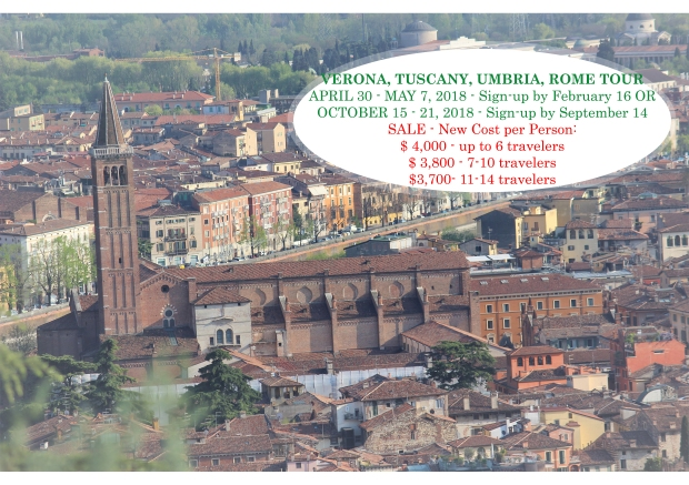 2018 Verona Tuscany Umbria Rome Tour Final Flyer SALE FOR WEBSITE